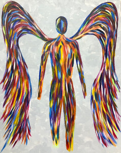 "Sat, Jul 7, 2018, 7-10pm ""Rainbow Angel"" Public Tulsa OK Paint, Wine, & Canvas Class"