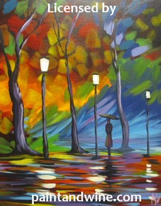 "Fri, Nov 3, 2017, 7-10pm ""Rainy Night"" GRAND OPENING Public Tulsa OK Paint, Wine, & Canvas Class"