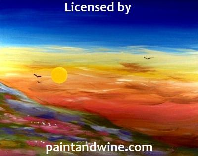 "Fri, Jan 26, 2018, 8-10pm ""Flower Sunset"" Public Tulsa OK Paint, Wine, & Canvas Class"