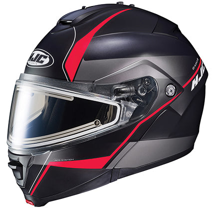 HJC IS-Max II Electric Shield Modular Snowmobile Helmet Mine Flat Red 4X-Large