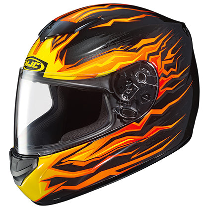 HJC CS-R2 Flame Block Black Orange Street Full Face Motorcycle Helmet X-Small