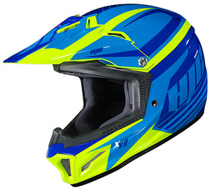 HJC Kid's CS-XY II Bator Blue Hi-Vis MX Offroad Motorcycle Helmet Youth X-Large