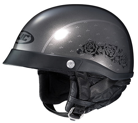 HJC CL-Ironroad Ladies Black Rose Cruiser Motorcycle Half Helmet Grey X-Large