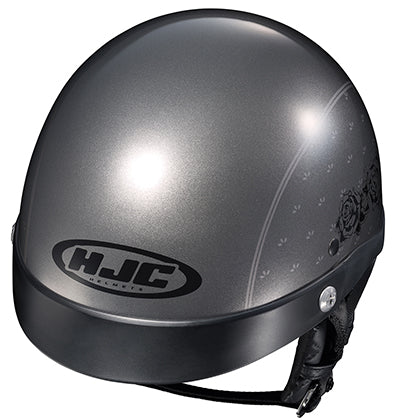 HJC CL-Ironroad Ladies Black Rose Cruiser Motorcycle Half Helmet Grey Large