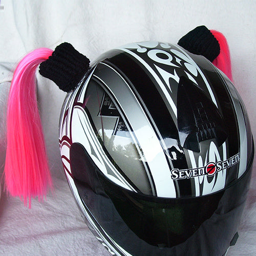 Ladies & Girl's Helmet Pigtail Set -  Pink