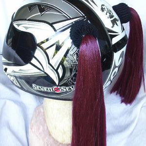 Ladies & Girl's Helmet Pigtail Set -  Wine Red