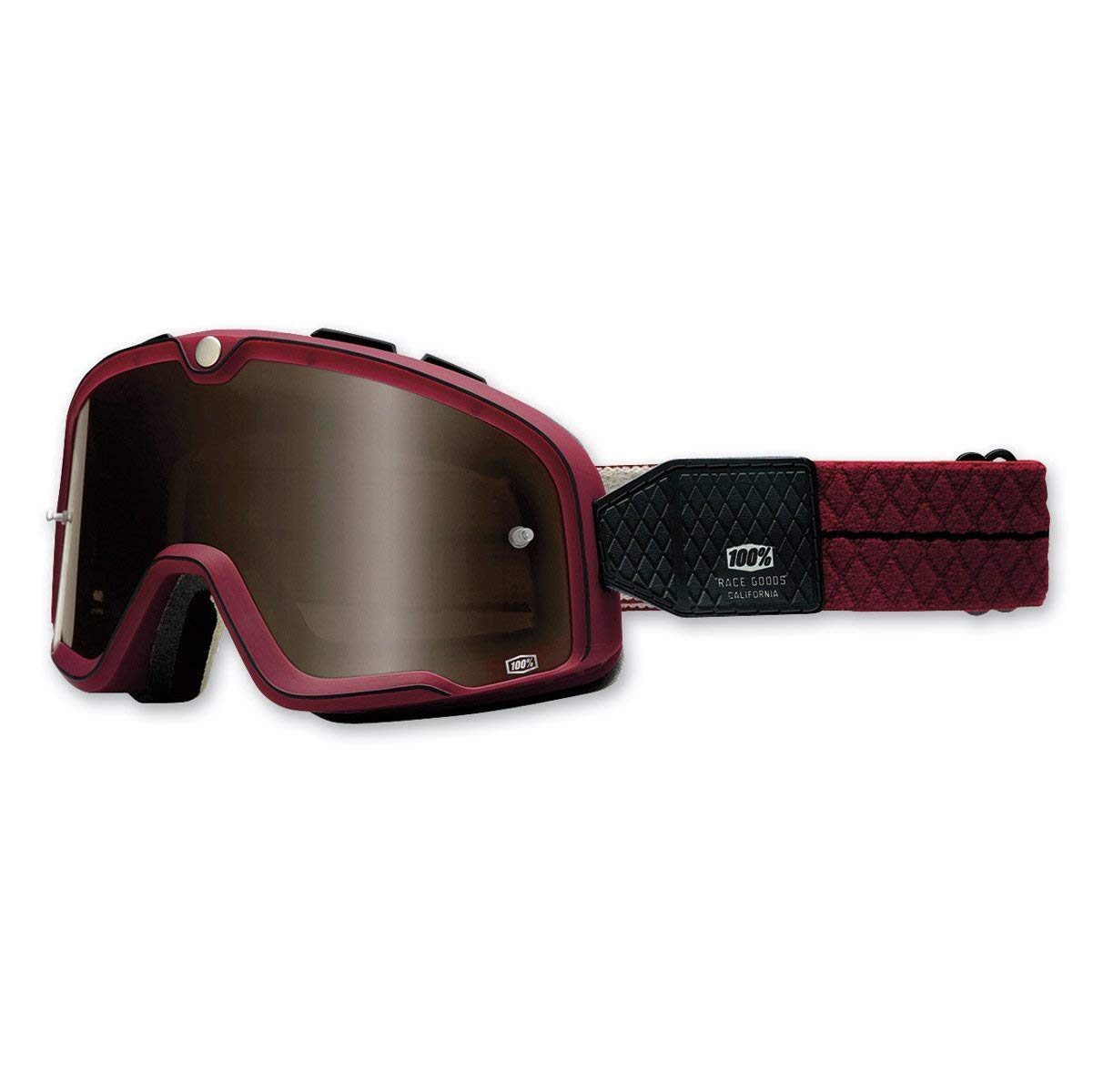 100% Barstow Classic Style Motorcycle Helmet Off Road Riding Goggle Burgundy Red