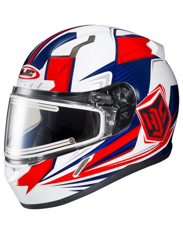 HJC CL-17 Striker Neon Red White Blue Electric Shield Snowmobile Helmet Medium