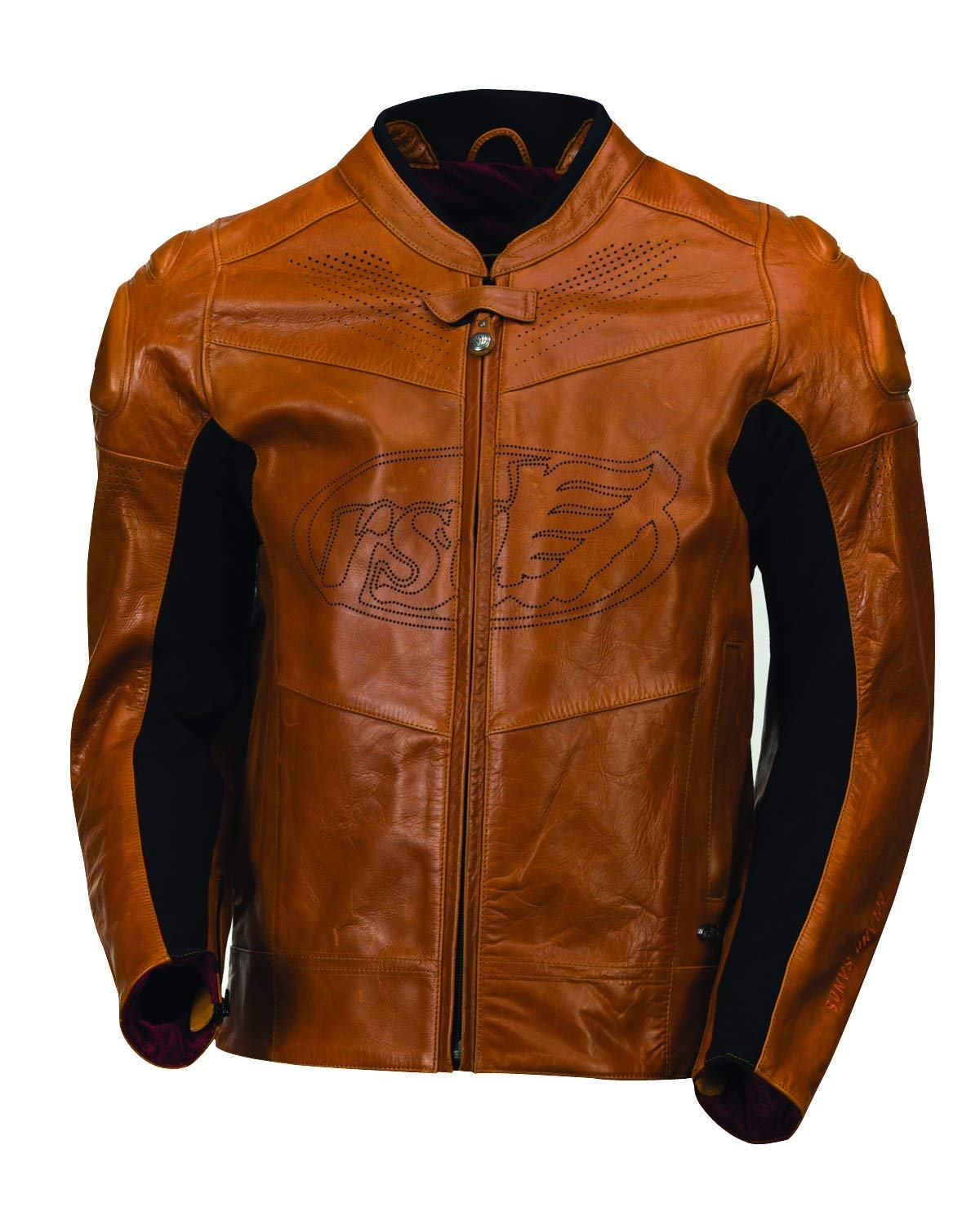 Roland Sands Men's Zuma Timber Brown Leather Motorcycle Riding Jacket X-Large