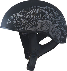 GMax GM65 Ladies Rose Matte Black Motorcycle Half Helmet w/ Sun Shield X-Small
