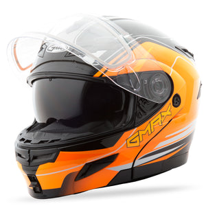 GMAX GM54S Terrain Modular Snowmobile Riding Snow Helmet Black Orange Large
