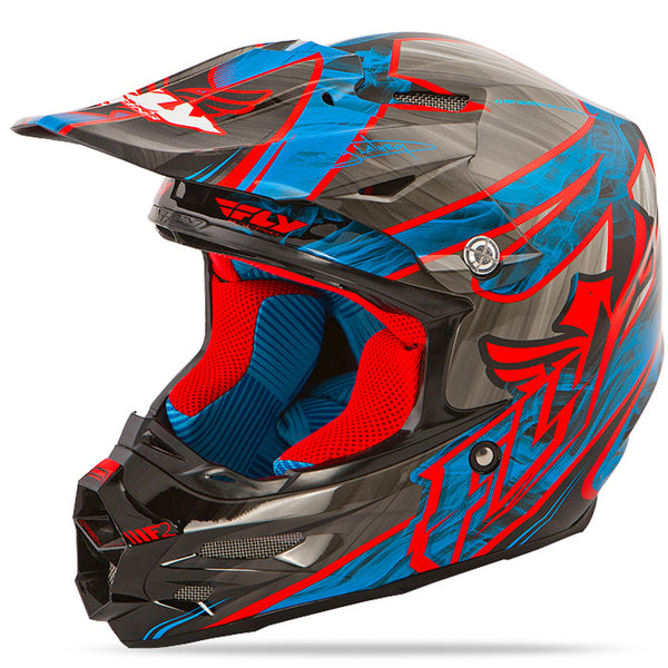 Fly Racing F2 Carbon Acetylene Red Blue MX Offroad Motocross Helmet X-Small