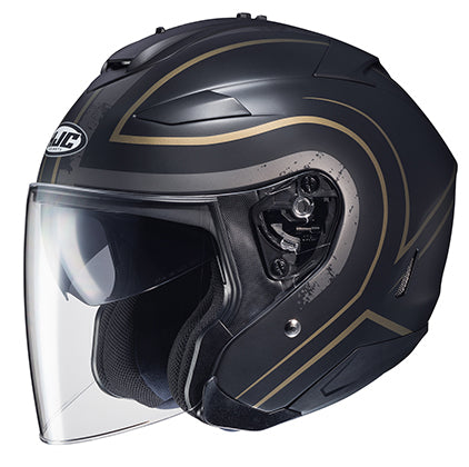 HJC IS-33 II Apus Open Face Motorcycle Riding Touring Helmet Black Gold 2X-Large
