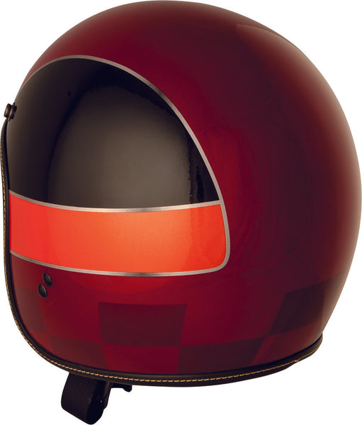 Fly Street .38 Winner Open Face Motorcycle Helmet Metallic Red Orange Large