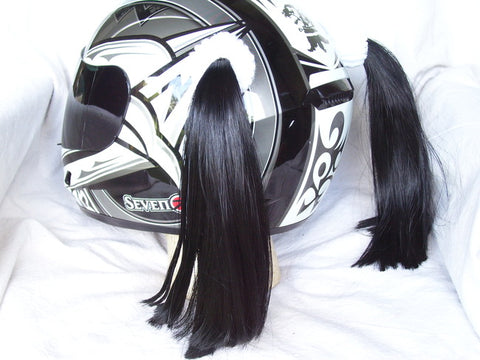 Ladies & Girl's Helmet Pigtail Set -  Black