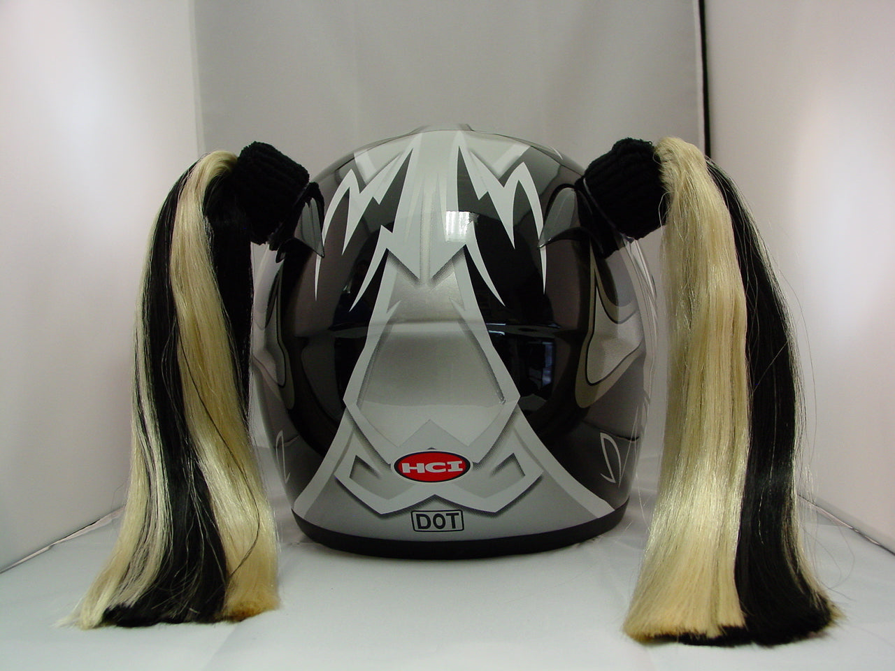 Ladies & Girl's 2-Color Helmet Pigtail Set -  Black & Blonde