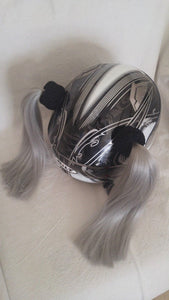 Grey Ladies Helmet Pigtails Works On Any Motorcycle or Other Helmet