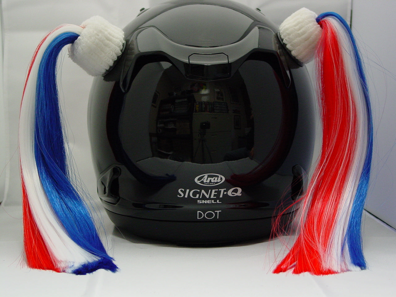 Ladies & Girl's Multi-Color Helmet Pigtail Set -  Red, White & Blue