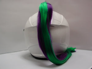 Ladies & Girl's 2-Color Helmet Ponytail - Green & Purple