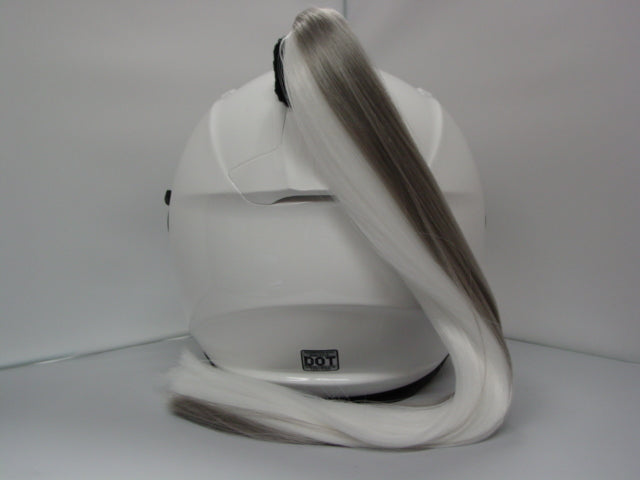 Grey & White Ladies Helmet Ponytail Works On Any Motorcycle Snow or Other Helmet