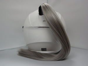 Grey Ladies Helmet Ponytail Works On Any Motorcycle or Other Helmet