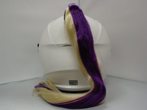 Purple & Blonde Ladies Helmet Ponytail Works On Any Motorcycle or Other Helmet