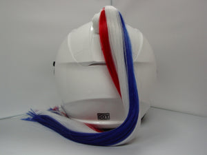 Red White & Blue Ladies Helmet Ponytail Works On Any Motorcycle or Other Helmet