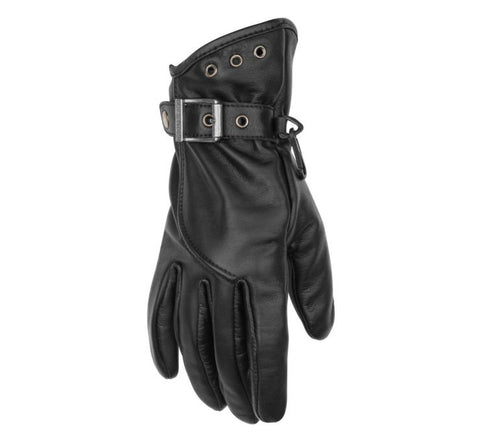 Black Brand Crystal Leather Cruiser Touring Motorcycle Riding Glove Womens Small