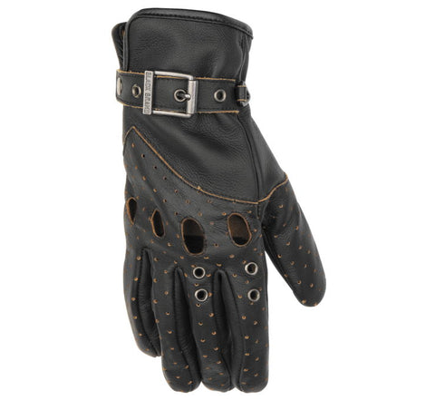 Black Brand Women's Vintage Venom Leather Street  Motorcycle Gloves Black Large