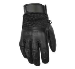 Black Brand Challenge Leather & Mesh Summer Motorcycle Riding Gloves 3X-Large