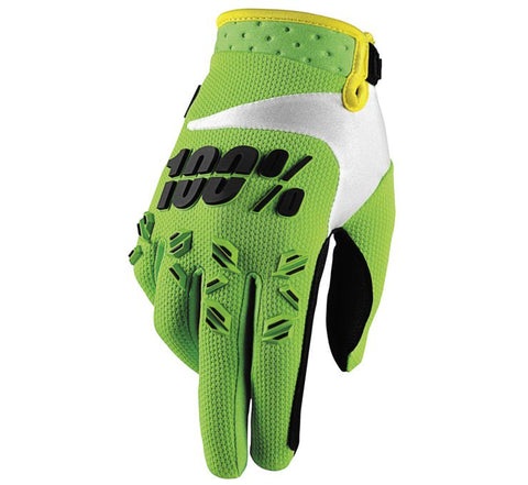 100% Airmatic Lime Green Breathable MX Motocross Offroad Glove Men's Medium