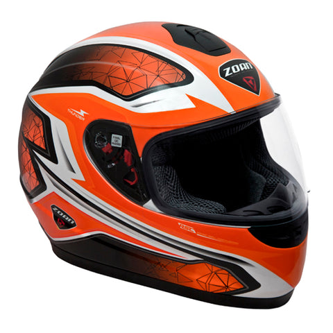 Zoan Thunder Electra Orange Full Face Street Sport Motorcycle Helmet Medium