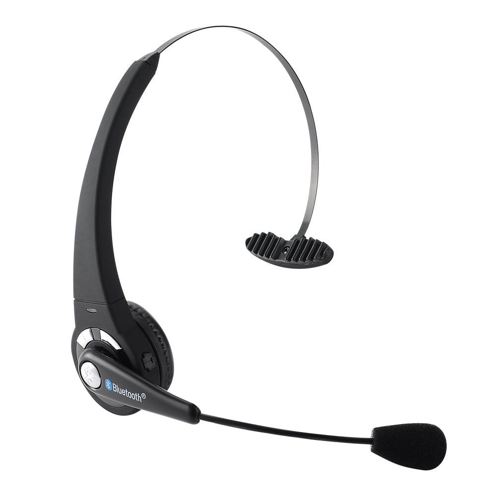 Wireless Bluetooth Headphone Flexible Boom Mic Trucker Over the Head Handsfree Noise Cancellation