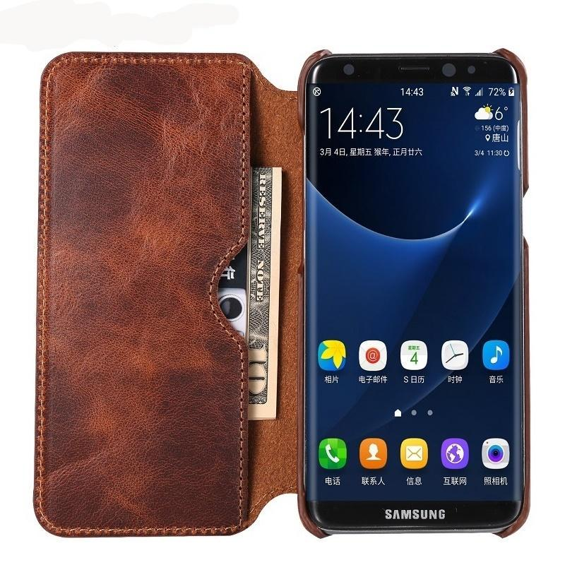 Cell Phone Wallet Real Genuine Leather Flip Case For Samsung Galaxy S8 Plus S 8 Vintage Leather