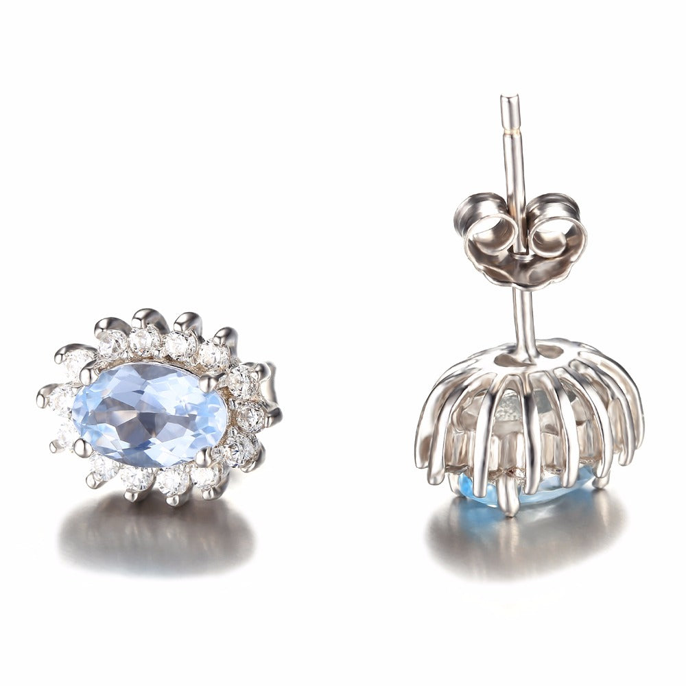 Natural Topaz Gemstone Stud Earrings Genuine 925 Sterling Silver Jewelry - TimeForClothes