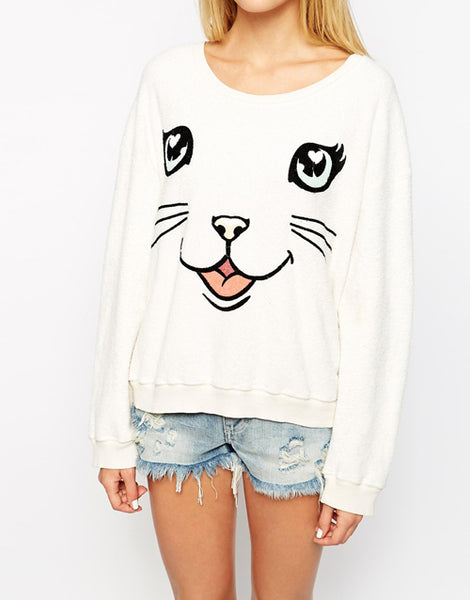 Womens Cute Cat Casual Sweatshirt sweater - TimeForClothes