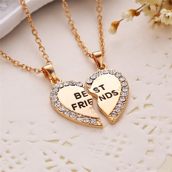 Split Heart Rhinestone Best Friends Engraved Pendant Friendship Necklace Set of 2 Matching Crystal Heart Shaped Jewelry