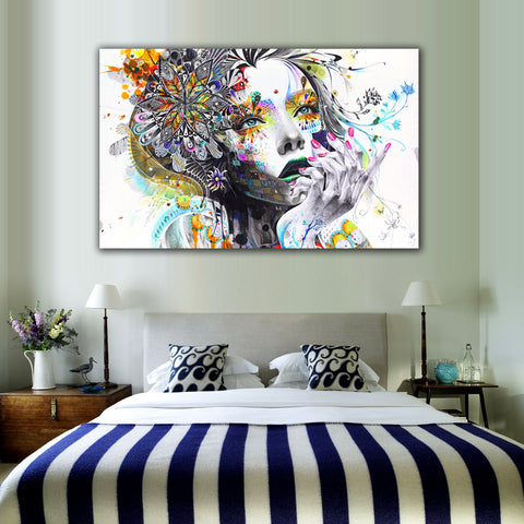 Modern Wall Art Girl With Flowers Unframed Canvas Painting For Home Art Wall Decoration - TimeForClothes