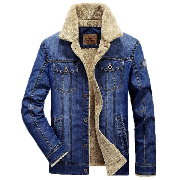 Mens Thick denim Fleeced jacket Fashion - TimeForClothes