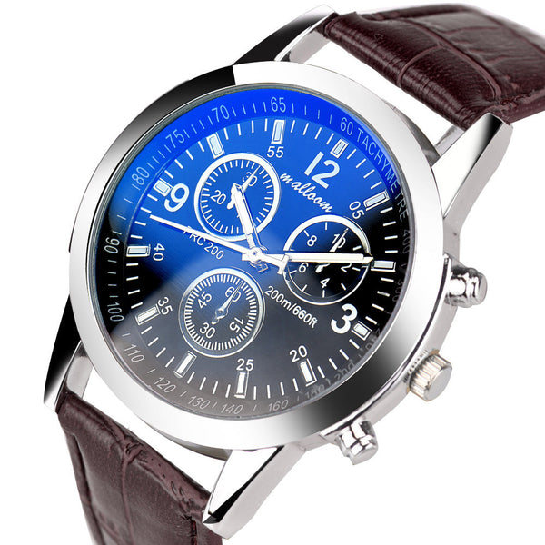 Mens Blue Ray Glass Stylish Luxury Leather Wrist Watch - TimeForClothes