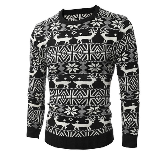 Christmas Sweater Knitted Deer Design For Men - TimeForClothes