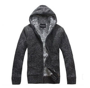 Inside Thick Fur Warm Casual Mens Hooded Jacket - TimeForClothes