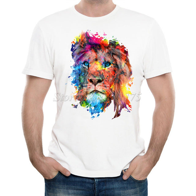 Colorful lion Casual T Shirt - TimeForClothes
