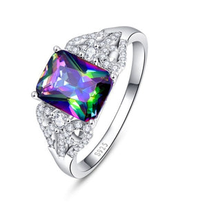 Emerald Cut 3ct Natural Mystic Fire Rainbow Topaz Ring With Outer Diamonds - TimeForClothes