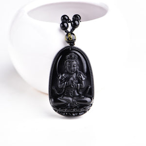 Unique Natural Black Obsidian Carved Lucky Buddha Necklace For Men & Women - TimeForClothes