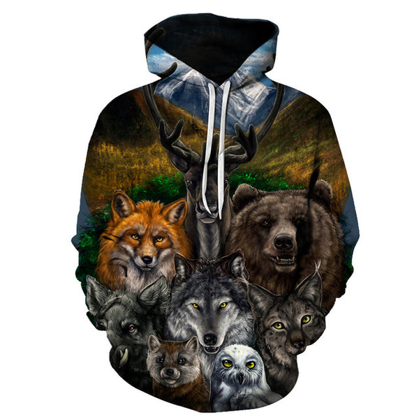 Wild Life Happy Animal Family 3D Printed Unisex Hoodie - TimeForClothes