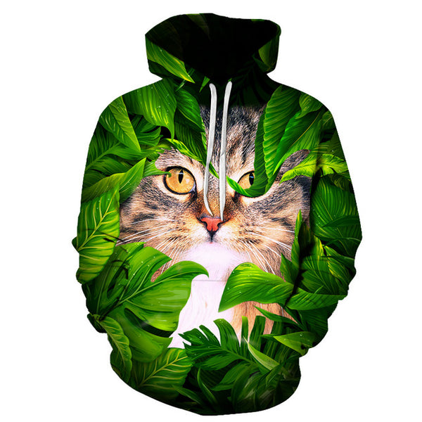 Cute Cat Hiding In Leaves 3D Printed Unisex Hoodie - TimeForClothes