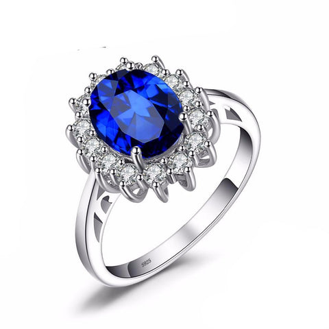 3.2 ct Created Blue Sapphire Ring 925 Sterling Silver Rings For Women Fine Jewelry - TimeForClothes