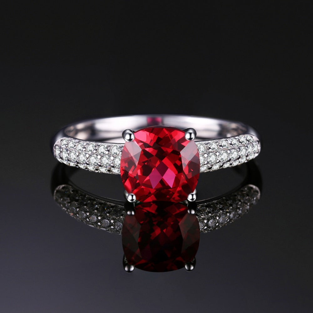 2.6ct Red Ruby Solitaire Ring 925 Sterling Silver Ring For Women - TimeForClothes