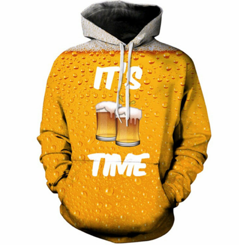 It's Beer Time 3D Printed Mens Hoodie - TimeForClothes
